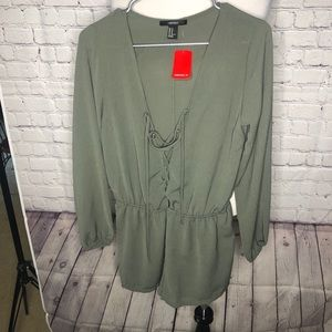 Forever 21 Olive Lace Up Romper. NWT